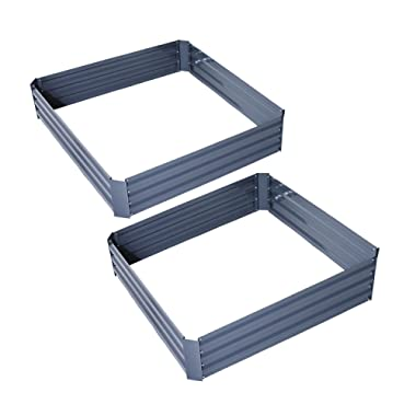 Outsunny 26  x 26  x 12  Raised Galvanized Metal Garden Bed Kit Set of 2 - Grey