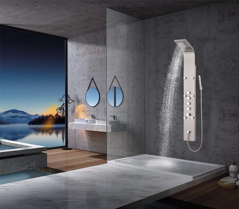 Elbe Duschpaneel Edelstahl Mit Thermostat, 6xMassagedüsen, Regendusche,  Wasserfall Und Handbrause, Duschsystem Aus