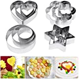 Cookie Cutters Pastry Biscuit Cutters, 12 Pcs Metal Stainless Steel Heart Star Circle Flower Shaped Mould