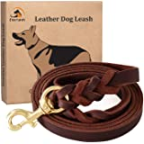 """Fairwin Braided Leather Dog Training Leash 6 Foot - Best Dog Leather Leashes No Pull for Large Small Dogs (3/4"""" Width, Brown)"""