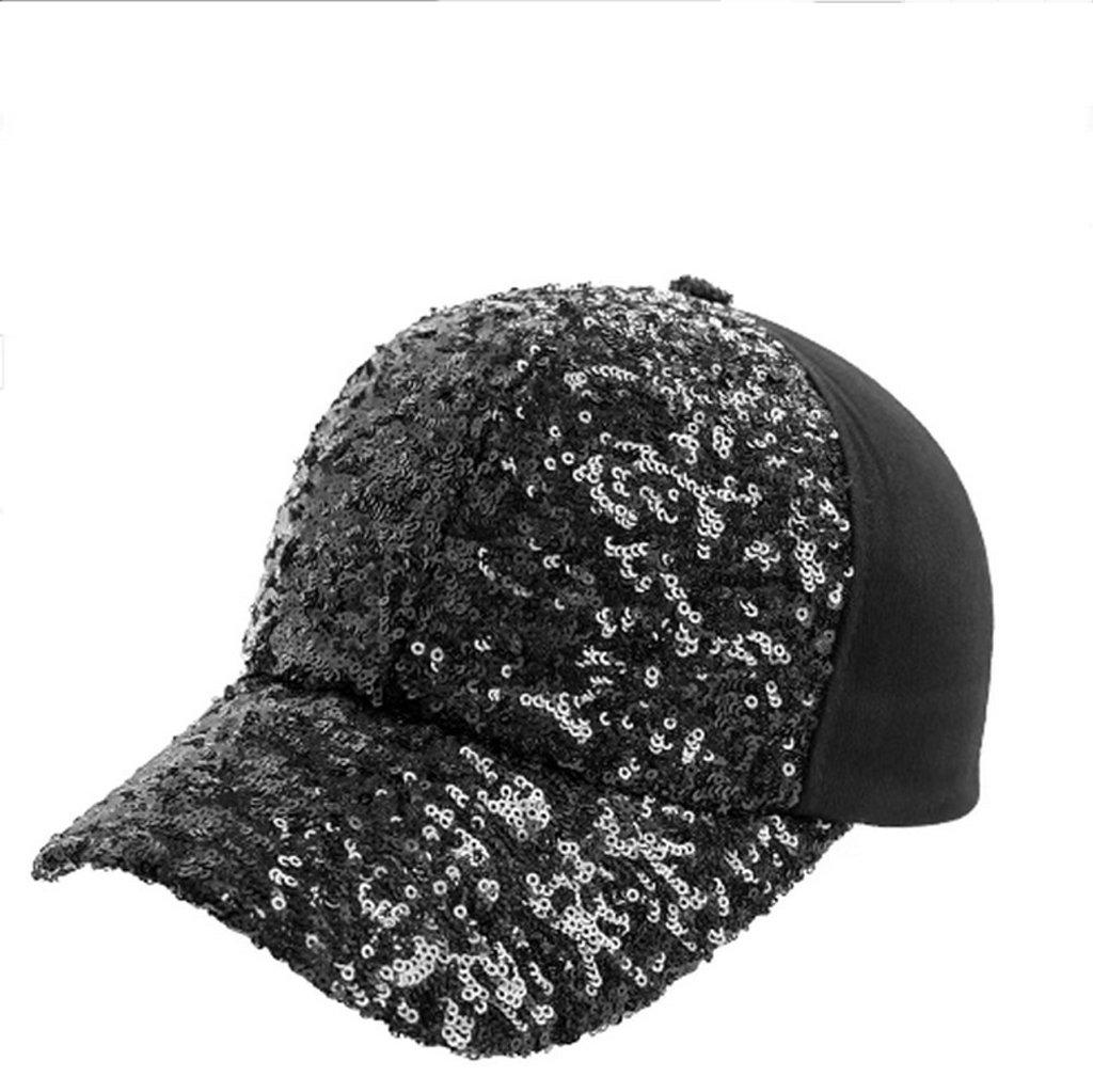 GUO - Hut Sommer Baseball Cap Trend Mode Pailletten Ente Mütze Outdoor Hip Hop Hut Sonnenhut Sommer (schwarz)