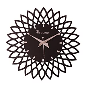 Amazon Brand - Solimo 11.25-inch Wooden Wall Clock - Designer Flower (Step Movement, Black Frame)