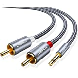 JSAUX RCA Cable, [6.6ft/2M, Dual Shielded Gold-Plated] 3.5mm Male to 2RCA Male Stereo Audio Adapter Coaxial Cable Nylon Braid