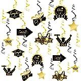2021 Graduation Hanging Decorations Swirls,Graduation Party Supplies Decorations Hanging Swirl, Black & Gold Foil Hanging Swi