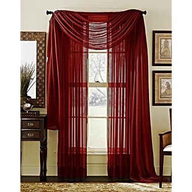 LuxuryDiscounts 2 Piece Solid Elegant Sheer Curtains Fully Stitched Panels Window Treatment Drape (54  X 63 , Burgundy)