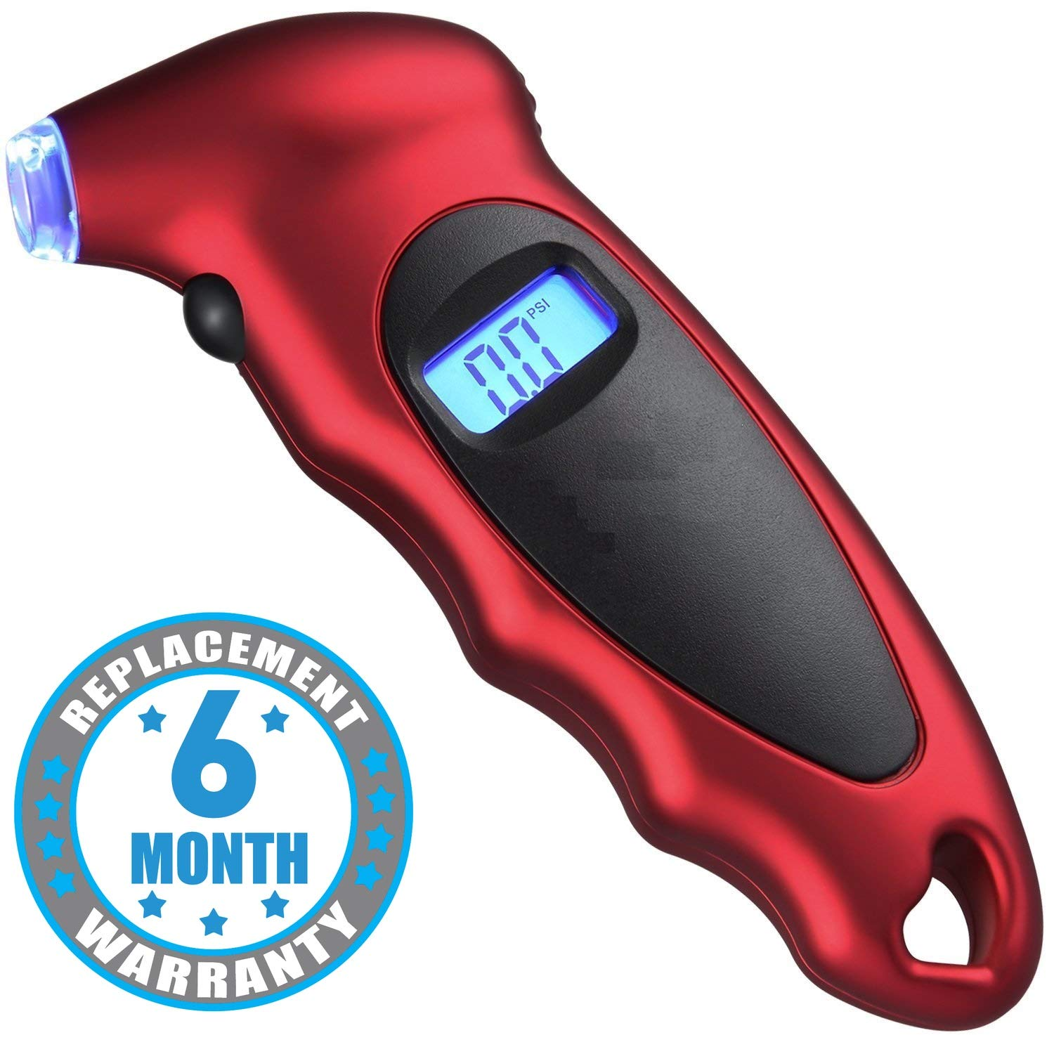 Voroly Digital Tyre Pressure Gauge 150 PSI 4 Settings for Car Truck Bicycle with Backlit LCD and Non-Slip Grip, Red product image