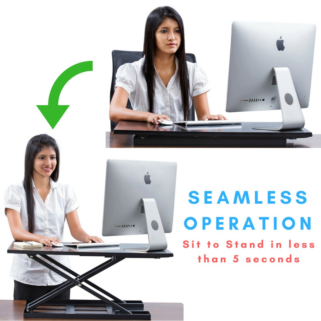 Standing Desk - Height Adjustable Ergonomic Stand Up Desk Converter Desktop Workstation - 32 X 22 Inch Sit Stand Riser for a Dual Monitor Setup - Table Jack