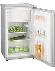 Kühlschrank mit Gefrierfach A++ (90L) 4-Sterne-Gefrierfach (-18 °C) LED-Innenbeleuchtung ✓ Abtauautomatik ✓ höhenverstellbare Glasablagen ✓ Gemüsefach ✓ Türablagen ✓ Silber
