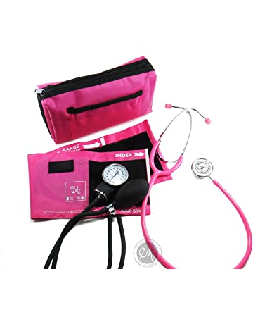 EMI #305 Pink Aneroid Sphygmomanometer Manual Blood Pressure Monitor with Adult Cuff and Dual Head