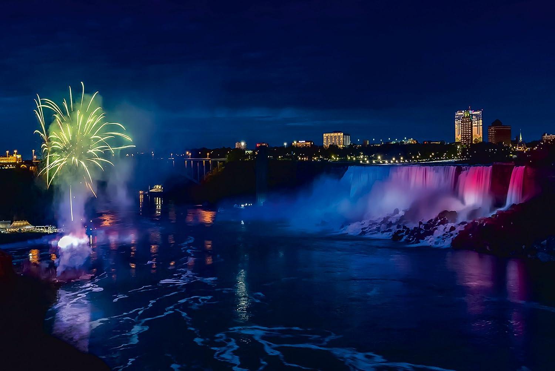 Artland Qualitätsbilder I Bild auf Leinwand Leinwandbilder Wandbilder 60 60 60 x 40 cm Landschaften Amerika Kanada Foto Blau C8PD NIAGARAFÄLLE Idylle in der Nacht d7f776