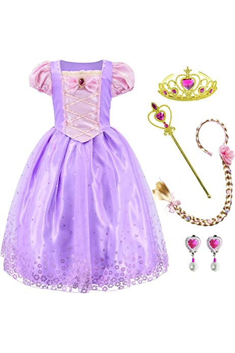 Jurebecia Princess Costume for Girls Birthday Party Outfits Halloween Princess Dress up Purple 2-10 Years
