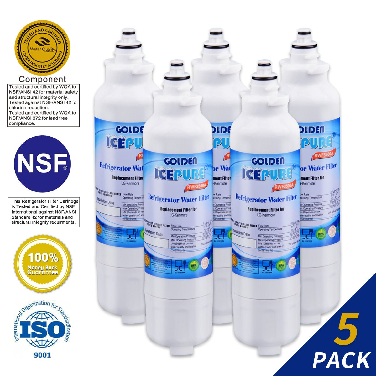 Golden Icepure LT800P Refrigerator Water Filter Replacement for LG LT800P, Kenmore 46-9490, ADQ73613401, ADQ73613402 (5-Pack)