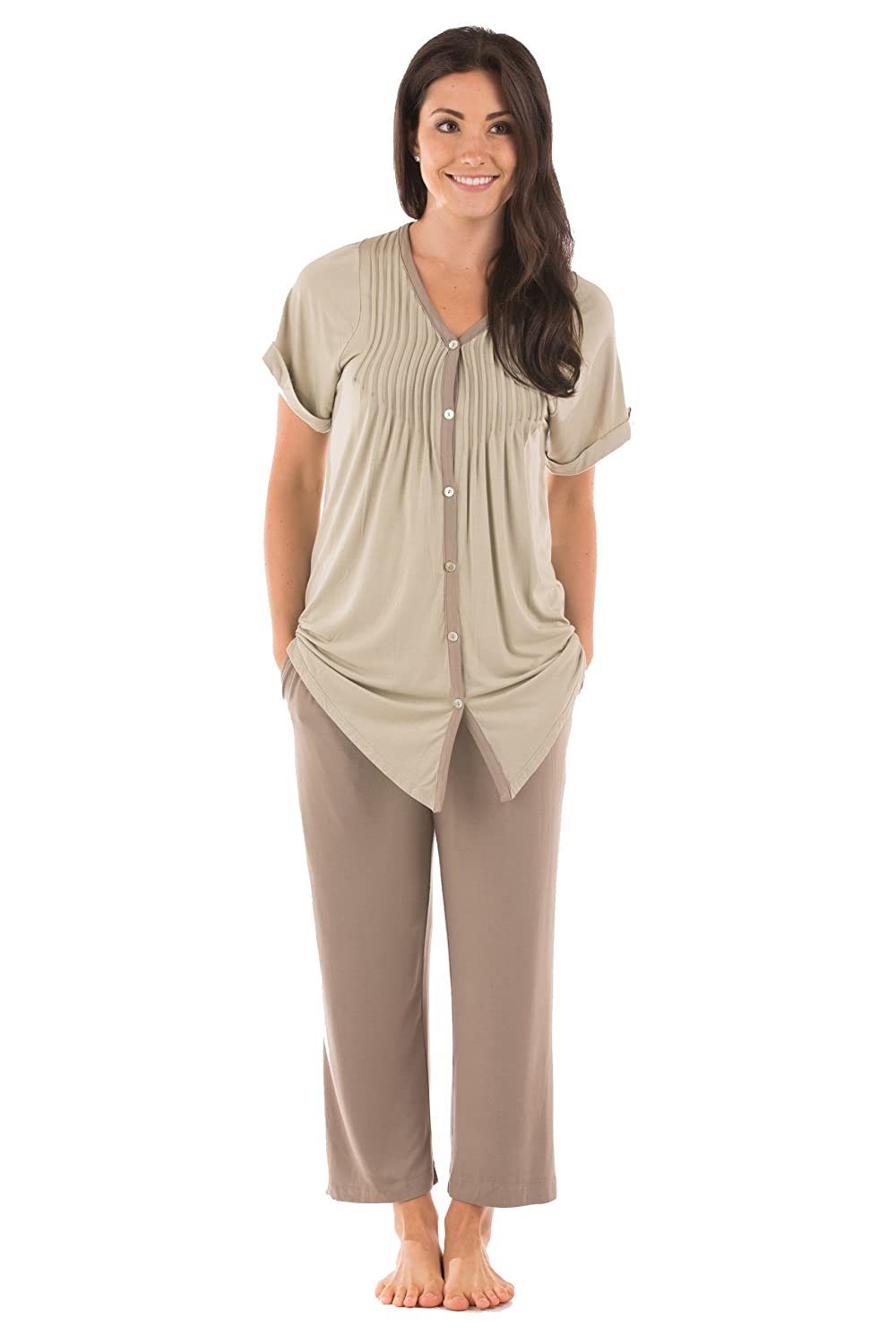 Sand Women's Short Sleeve PJ Set  PJs in Bamboo Viscose by Texere (Sweet Paradise)