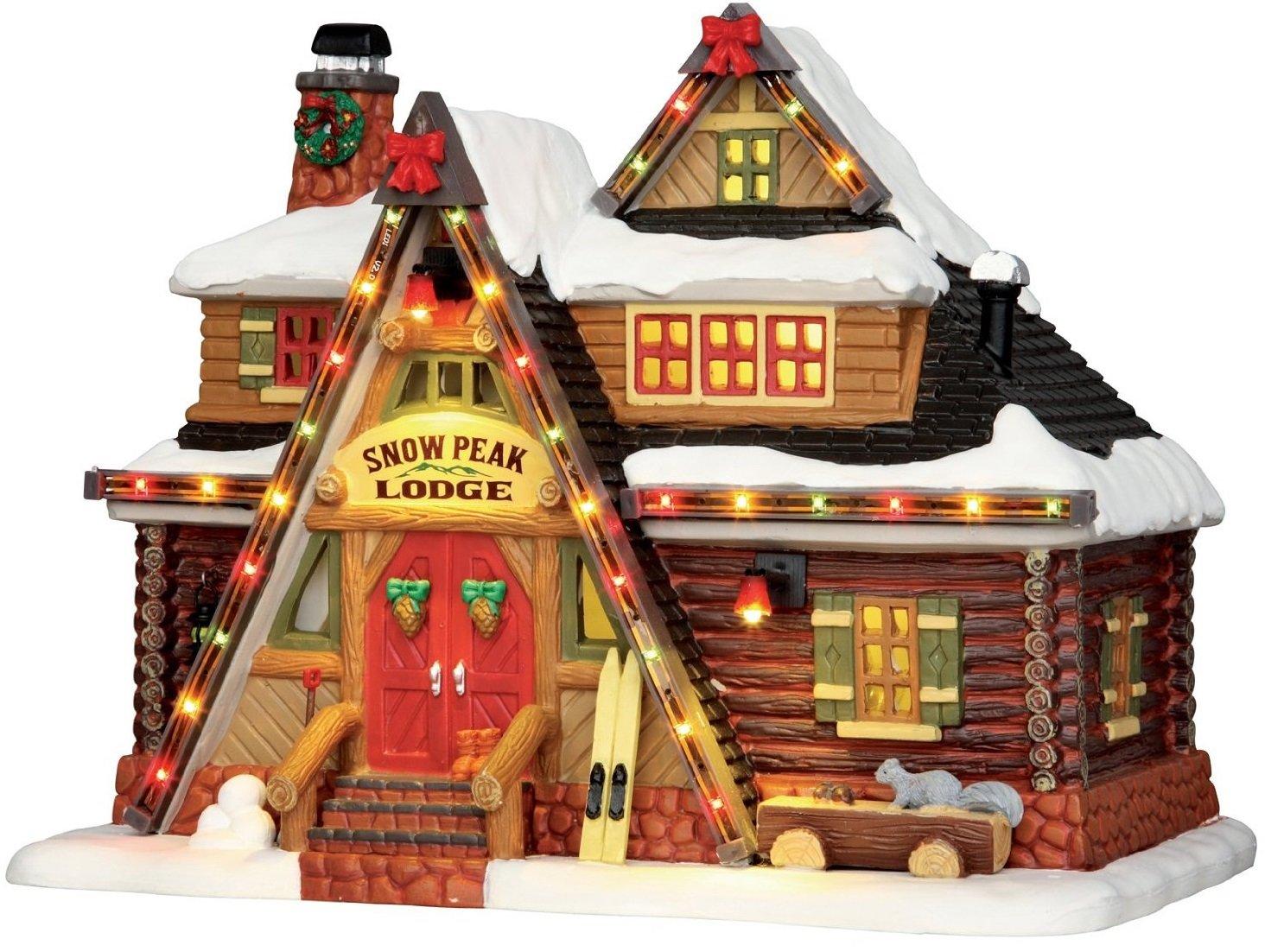 Lemax - Snow Peak Lodge - Bunt beleuchtete Hütte - 22,50cmx17,50cmx14,50cm - 4,5V   Adapter - Christmas Village - Weihnachtsdorf