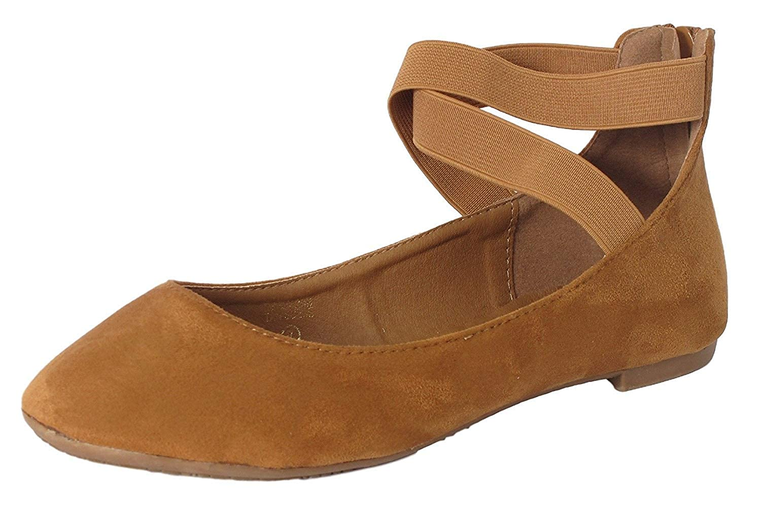 Brown Icerom Women's Classic Ballerina Flats Elastic Crossing Straps