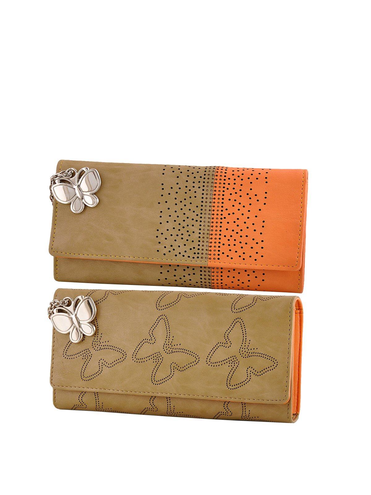 Butterflies Women's Handbag with Wallet (Beige, Orange) (Set of 2) product image