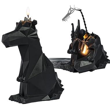 PyroPet Candles, Dreki Dragon Wax Candle, Melts to Metallic Skeleton (Black)