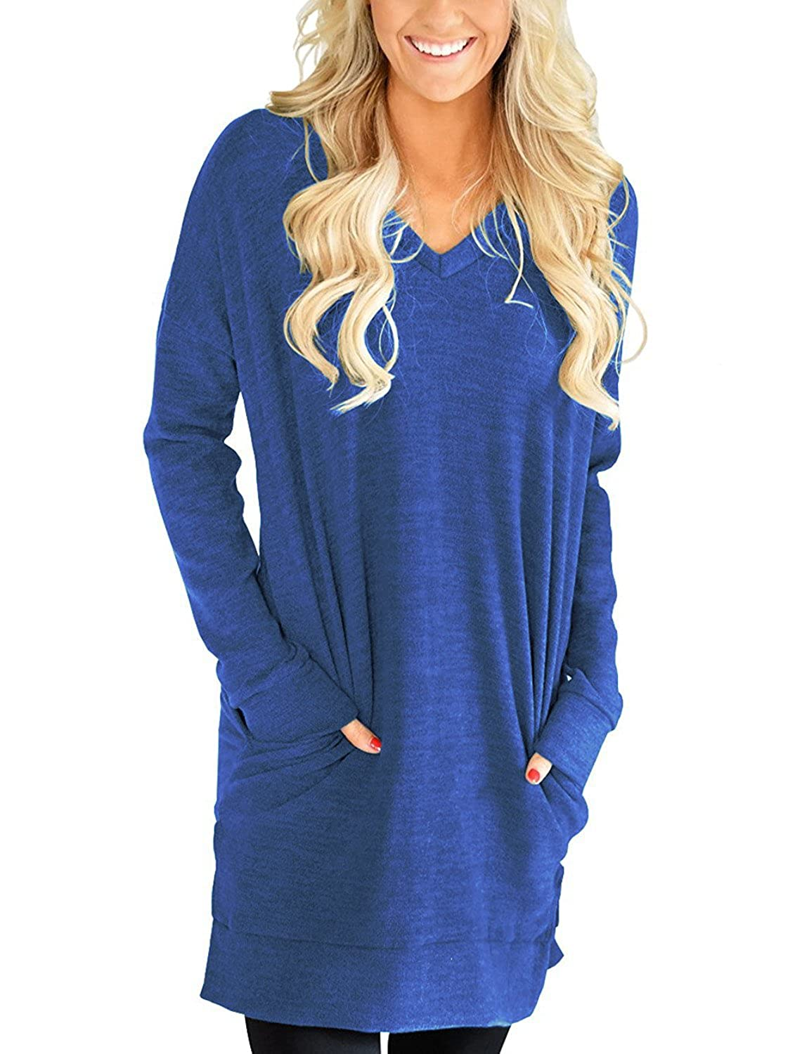 bluee lili's story Women Long Sleeves Shirt VNeck Tunic Tops for Legging Pocket Solid color Casual Blouse