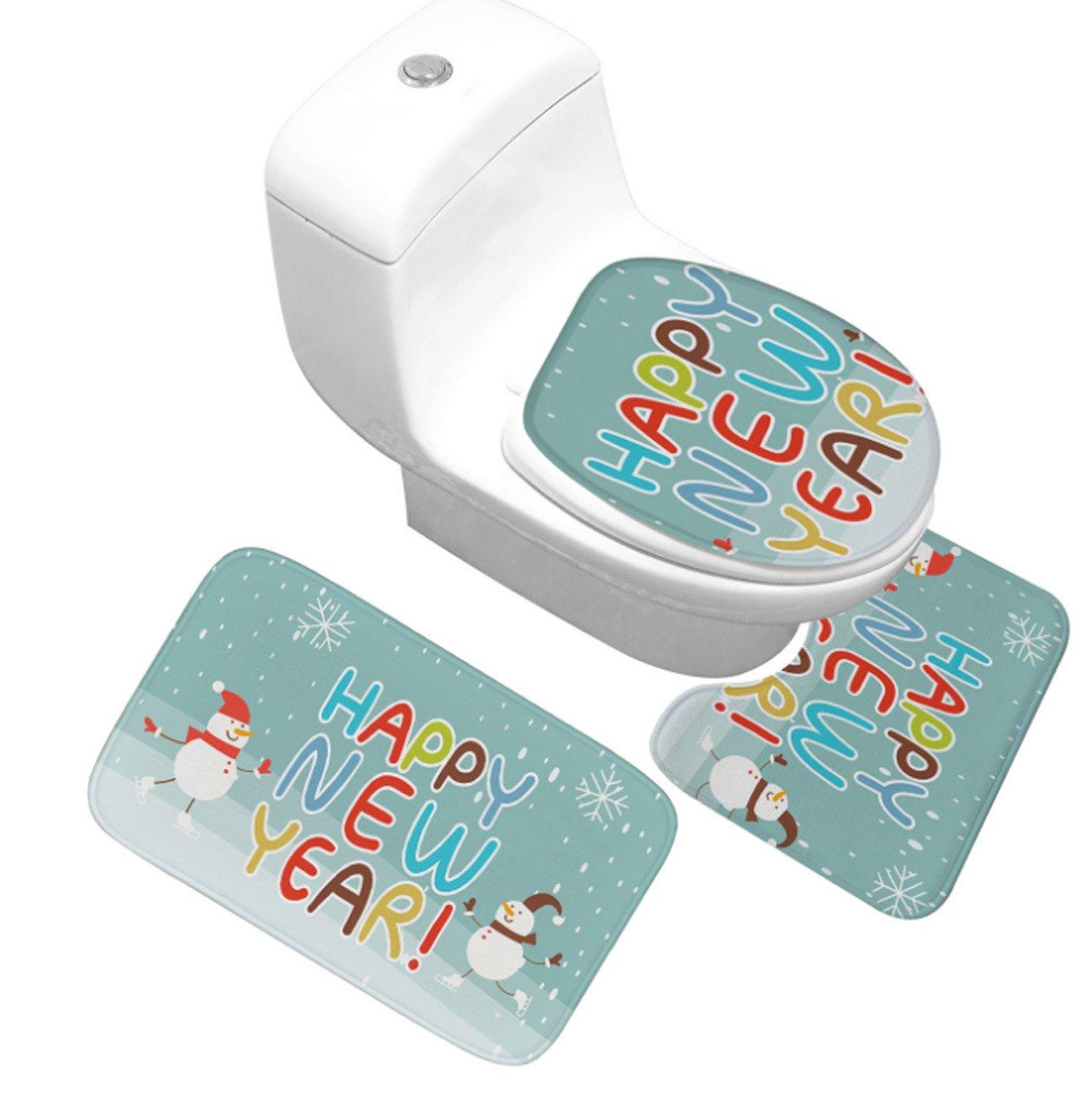 Waschraum-Zubehör 3 Stück Weihnachten Stil Rutschfeste Badematte Set, Set, Set, 3 STÜCKE Weihnachten Badezimmer Sockel Teppich + Deckel Toilettendeckel + Badematte Set Familiennutzung ( Farbe   B , Größe   S ) B07H99LTXC Duschmatten 50d513