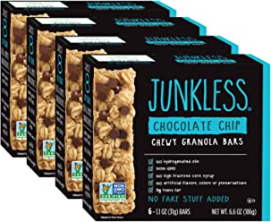 Junkless Chewy Granola Bars, Chocolate Chip, 1.1 oz, 6 Bars (4 Count)