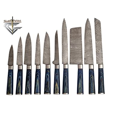 G25- Professional Kitchen Knives Custom Made Damascus Steel 10 pcs of Professional Utility Chef Kitchen Knife Set Round Blue Wood Handle with Pocket Case Chef Knife Roll Bag by GladiatorsGuild