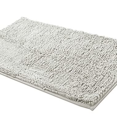 ITSOFT Non Slip Shaggy Chenille Soft Microfibers Bathroom Rug with Water Absorbent, Machine Washable, 21 x 34 Inches Light Gray