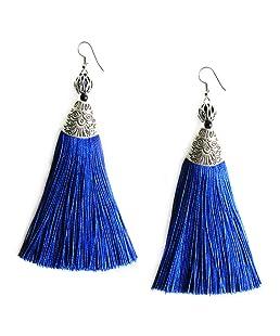 Me&Hz Blue Big Long Drop Earrings Generous Dangle Beaded Tassel Earring for Women Girls