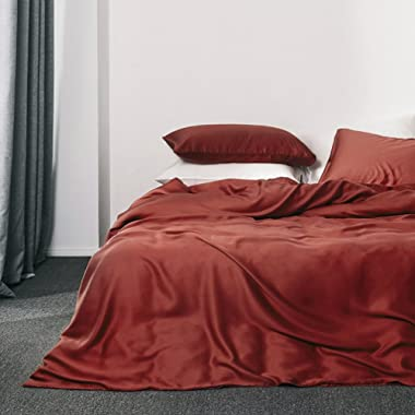 Solid Color Egyptian Cotton Duvet Cover Luxury Bedding Set High Thread Count Long Staple Sateen Weave Silky Soft Breathable Pima Quality Bed Linen (Queen, Reddish Terracotta)