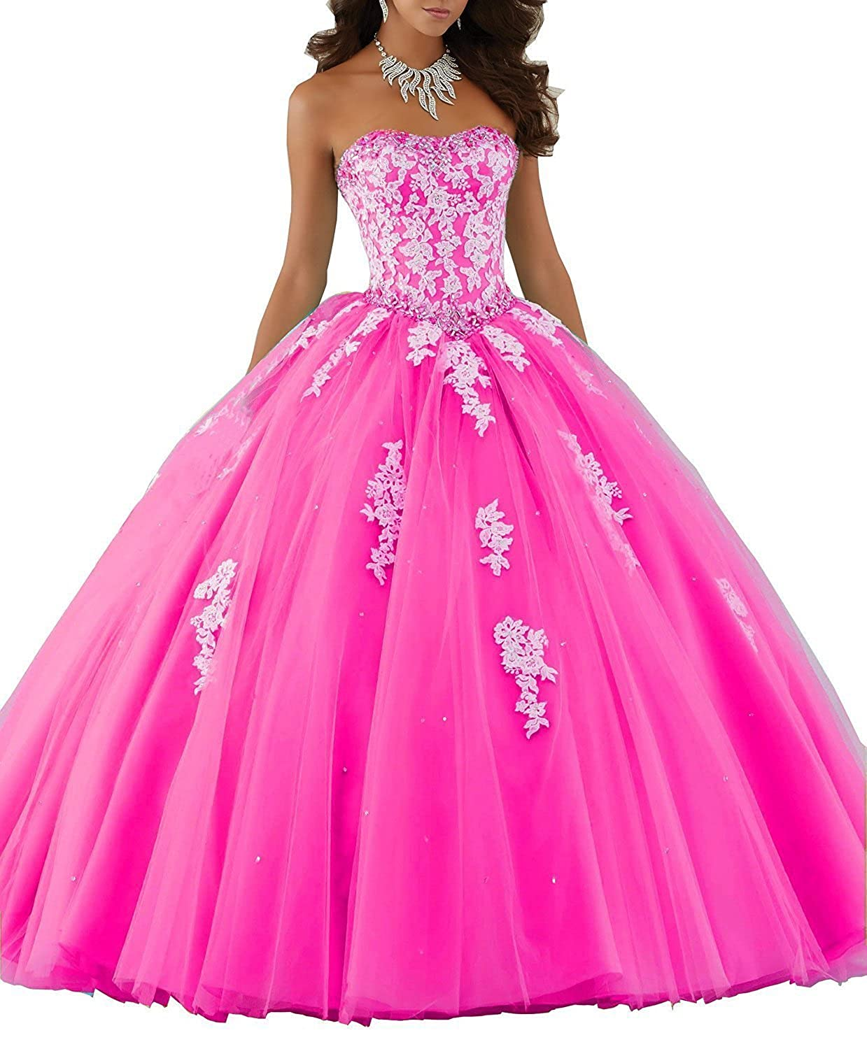 Fuchsia Ellenhouse Sweetheart Ball Gown Long Lace Applique Tulle Quinceanera Dress EL047