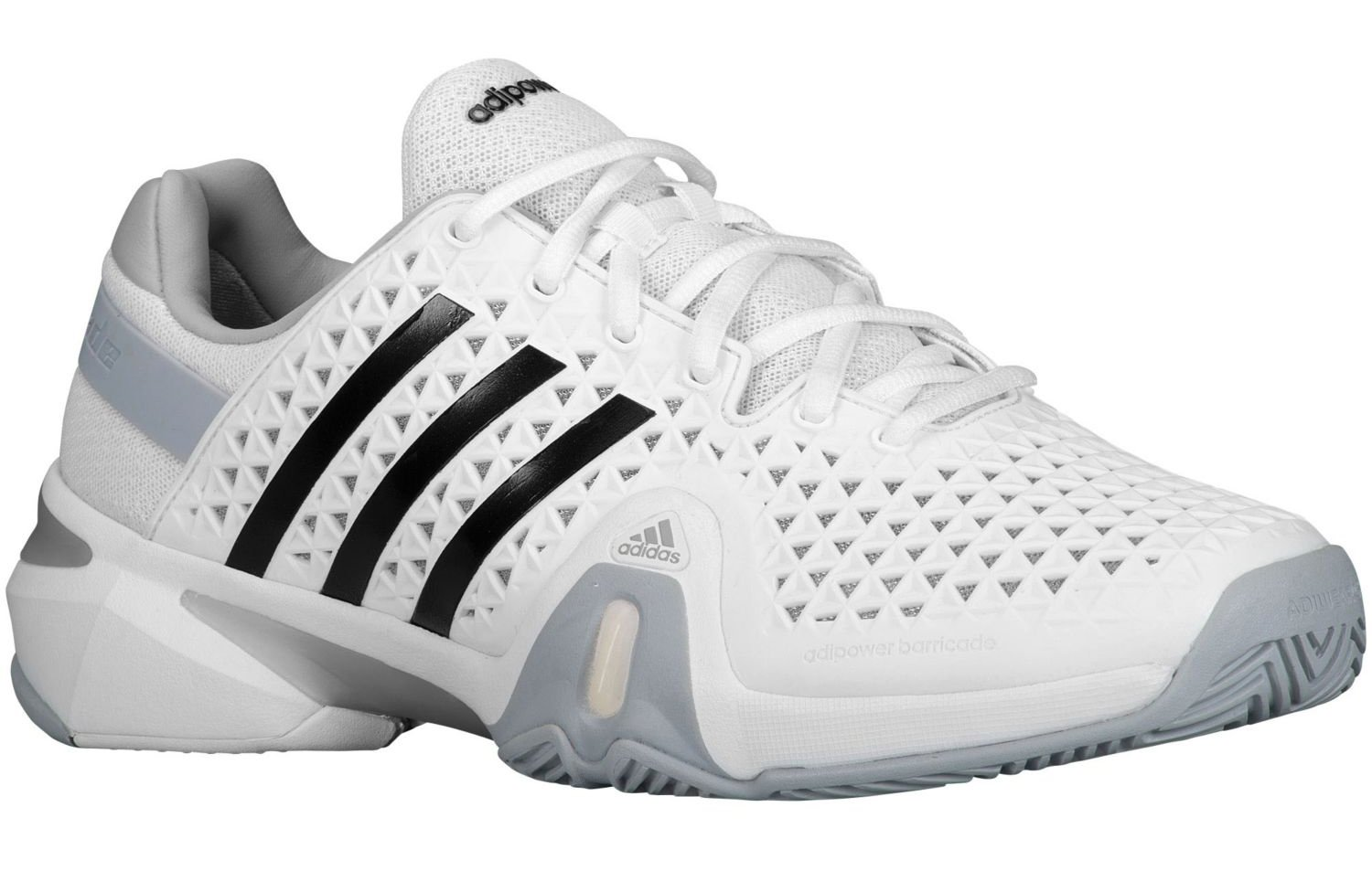 Adipower Barricade 8+ Mens' Tennis Shoe White/Silver/Grey B00HMBJNFS 11.5 D(M) US|White