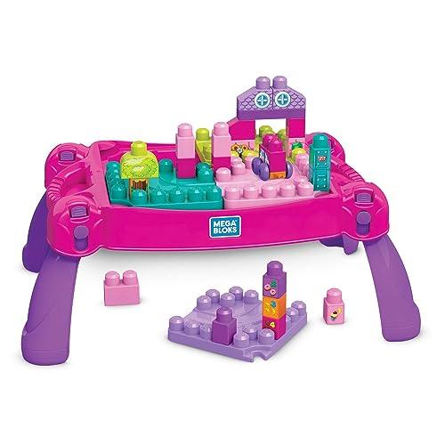 Mega Bloks La Table d'Apprentissage rose avec briques de construction et 2 véhicules, 30 pièces, jouet pour bébé et enfant de 1 à 5 ans, FFG22