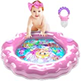 PRINCESSEA XL Baby Water Mat Set – Water Activity/Tummy Time Mat with Adjustable Headband & 3-Size Fruit Pacifier Feeder – Se