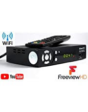 UK FULL HD 1080P FREEVIEW HD WiFi Ready Set Top Box Digital TV Receiver & USB HD Recorder DVB-T2 Terrestrial Tuner Analogue to Digital Television Converter HDMI or SCART 7 Chrome Button Wi-Fi Digibox