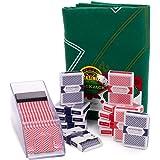 Blackjack Essentials Set – Includes Green Blackjack Tabletop Felt Mat, Blackjack Dealer Shoe + Discard Tray & 12 Decks of Pla