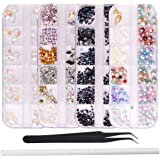WOKOTO 4 Box Nail Rhinestones And Charms Kit Black Mix-Shape Ab Rhinestones Flat Back Mix-Shape Nail Jewels Clear Crystals Co