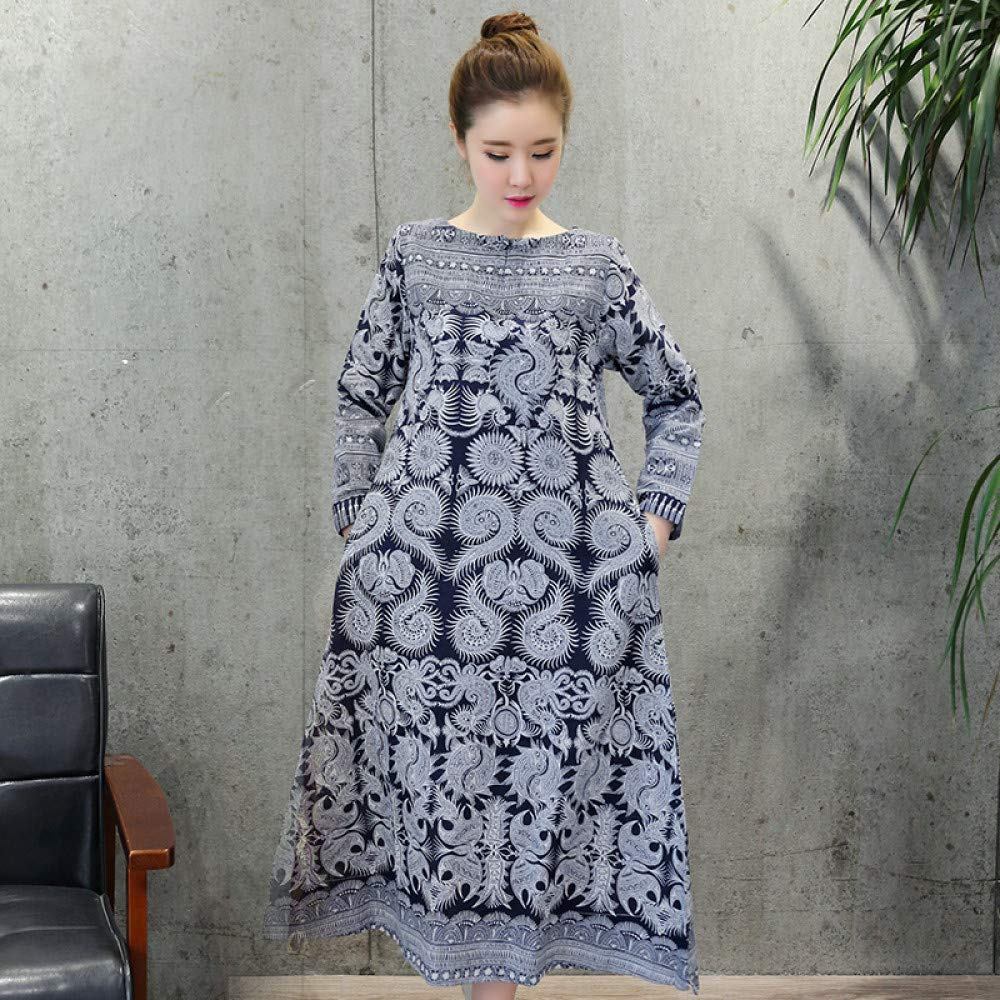 Navy Cxlyq Dresses Autumn Cotton and Linen Large Size Women's Buckle Printed Linen Long Sleeve Dress