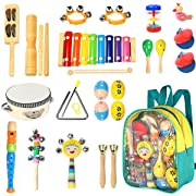 Toddler Musical Instruments- Ehome 15 Types 22pcs Wooden Percussion Instruments Toy for Kids Preschool Educational, Musical Toys Set for Boys and Girls with Storage Backpack