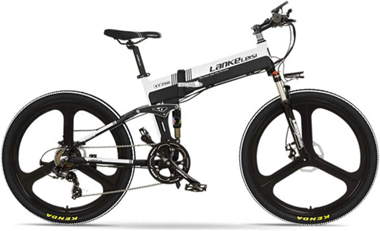 XT750-E 26インチ折りたたみ自転車、フロント&リアディスクブレーキ、48V 400Wモーター、長寿命、LCDディスプレイ付き、ペダルアシスト自転車 (黑白, 10.4Ah)