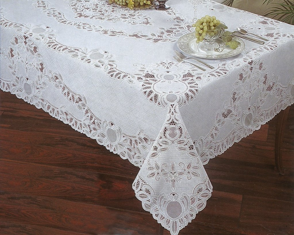 Tablecloths, Fine Lace, Crochet and Floral Design, White The Vinyl Fine Lace Tablecloth has a beautiful combination of floral and crochet design. There are three sizes offered, two rectangular and one round. read more.