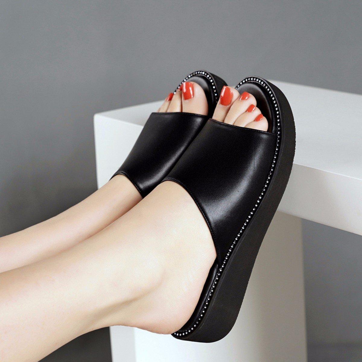 GTVERNH Mujer Zapatos/Taladro De Agua Fondo Grueso Salvaje Fondo Plano Pendiente Tacón Sandalias Zapatillas De Mujeres Verano.Cuarenta Blanco Forty white
