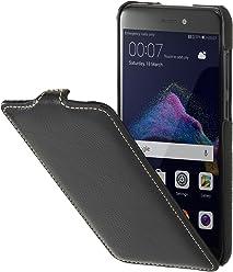 StilGut UltraSlim Case, custodia flip case in vera pelle per Huawei P8 lite (2017), nero