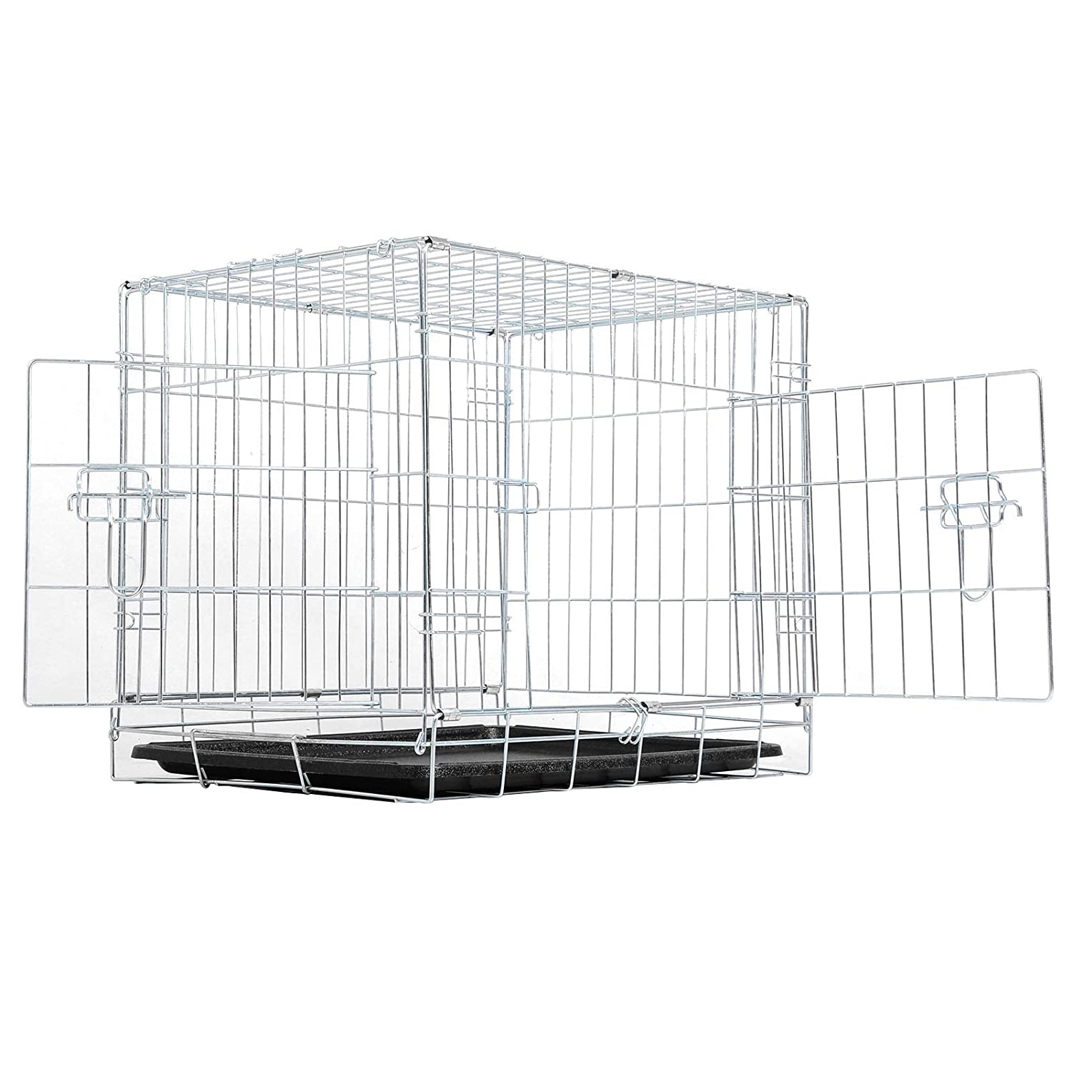 Black XL 42\ Black XL 42\ EUGAD 42  Folding Dog Puppy Cage 2 Doors Pet Carrier Metal Dog Crate XL