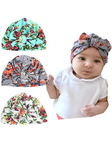ec2afa87a36 DANMY Baby Girl Hat with Rabbit Ears Toddlers Soft Turban Knot Bow Cap