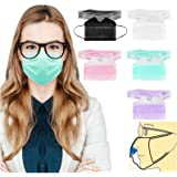 50PC Anti-fog Face_Mask with Nose Wire for Glasses Wearers 3-ply Disposable Breathable Face Bandanas for Adult Face Protectiv