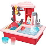 STEAM Life Kitchen Play Sink Toy with Color Changing Toy Dishes - Play Sink with Running Water - Pretend Play Kitchen Toys fo