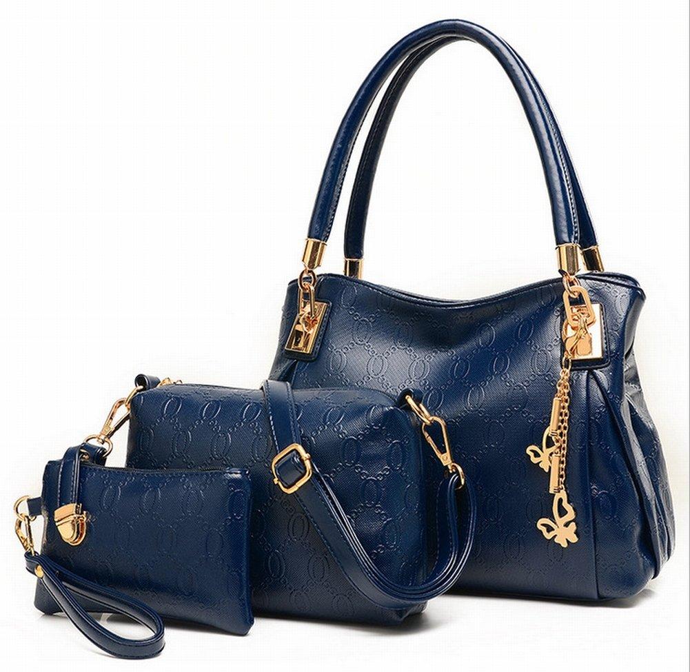 YTTY Damenmode Trend Dreiteilige Handtasche Handtasche Kuriertasche Groß Dreiteilig 3024, Blau