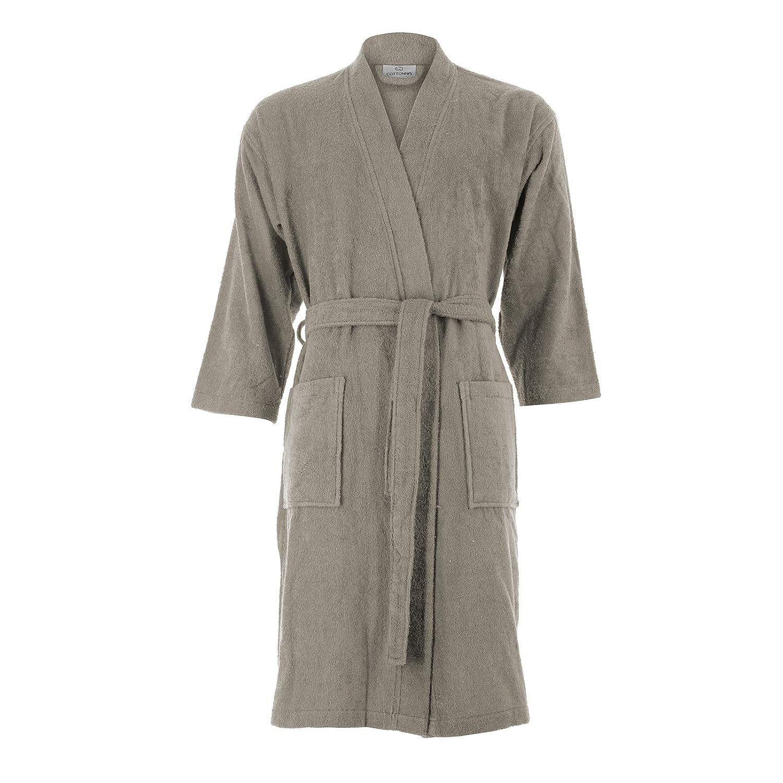 Dark Beige Cottonna Women's Turkish Cotton Bathrobe Kimono Style Knee Length Terry Cloth Robe