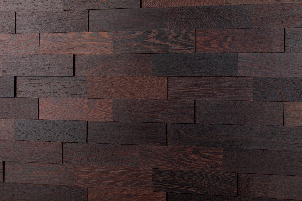 Wodewa Wandverkleidung Holz 3D Optik I Wenge I 1m² Wandpaneele Moderne Wanddekoration Holzverkleidung Holzwand Wohnzimmer Küche Schlafzimmer I Geölt
