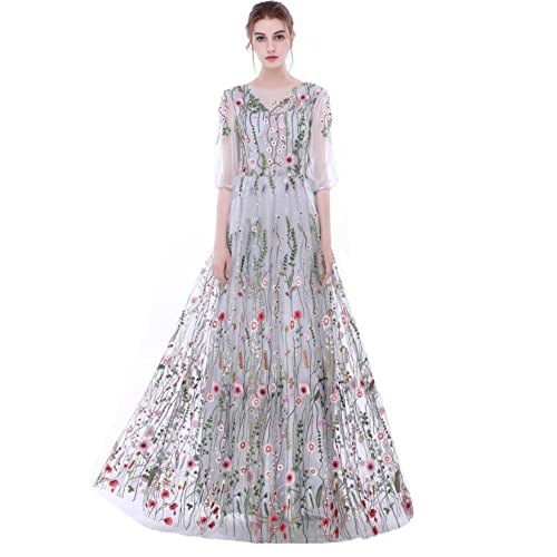Dobelove Womens Long Sleeves Floral Embroidery A-line Evening Dress