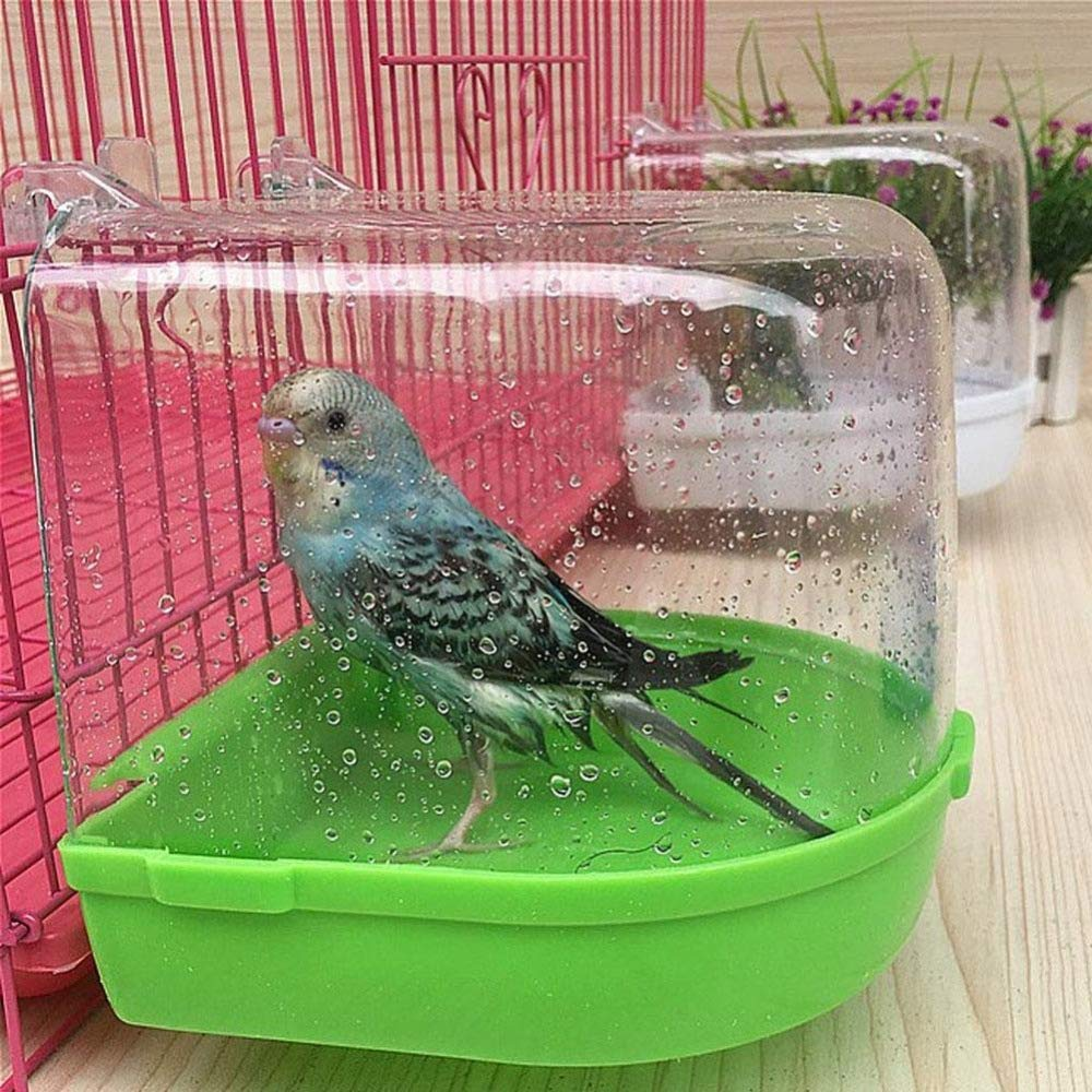 Bird Bath Bathtub Bathroom Bird Box Cleaning Tool Cage Accessories Transparent Plastic Parred Hanging from Bathtub and Shower